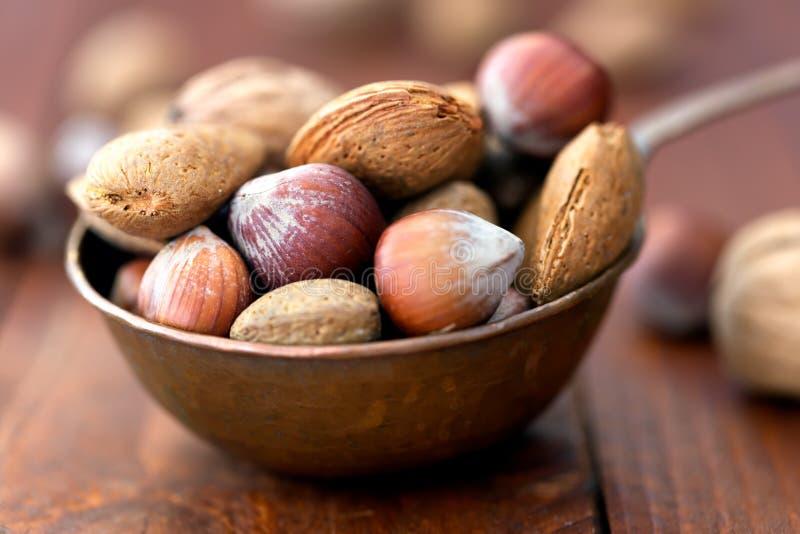 Amandes, noix et noisettes dans la cuvette métallique photo stock
