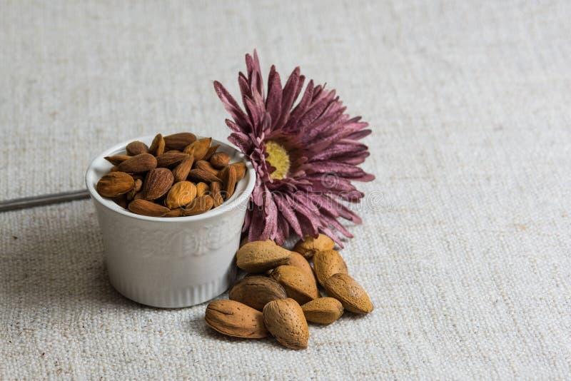 Amandes ?pluch?es dans une cuvette et des fruits secs blancs d'amandes sur la texture beige de tissu, d?coration de fleur, l'espa image stock