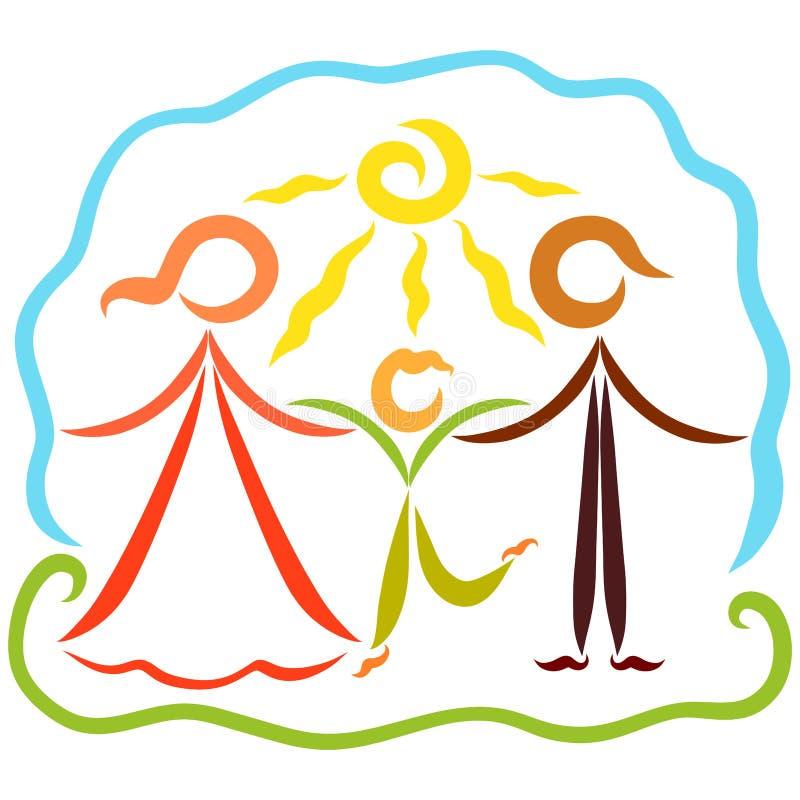 Amando, famiglia felice e attiva in natura, giorno soleggiato illustrazione vettoriale