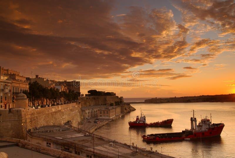 Amanecer de Valletta, Malta fotos de archivo libres de regalías