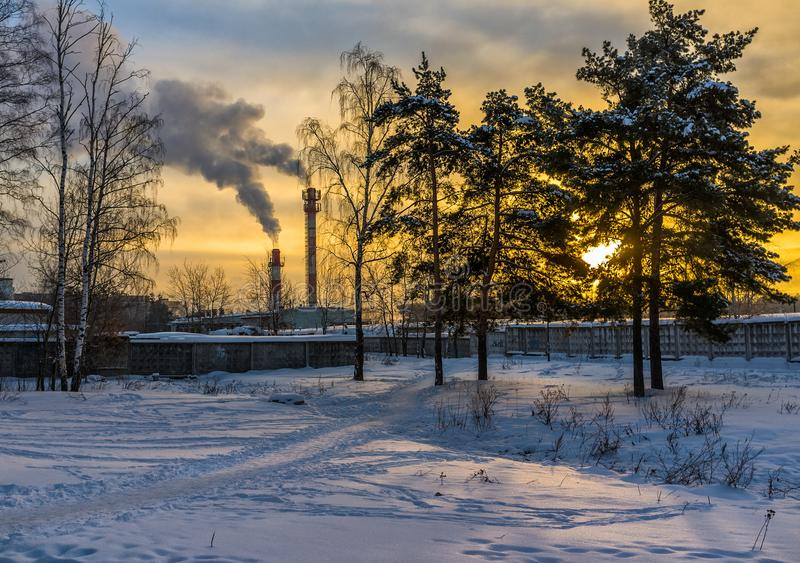 Amanecer del invierno moscú Rusia fotografía de archivo