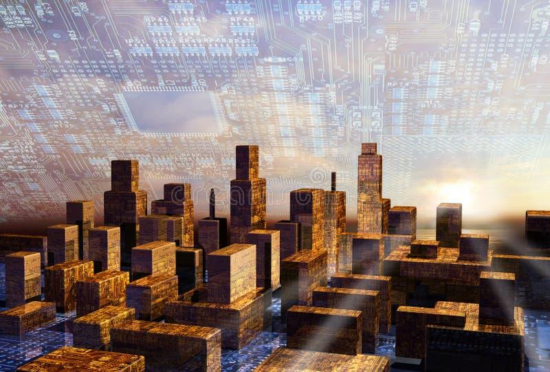 Amanecer en ciudad del Cyber ilustración del vector