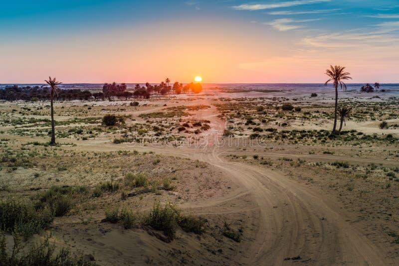 Amanecer en el desierto en Túnez foto de archivo