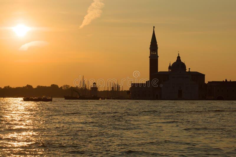 Amanecer en la catedral de San Giorgio Maggiore Venecia, Italia imagen de archivo libre de regalías