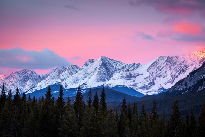 Amanecer en las montañas del parque provincial Peter Lougheed en Kananaskis, Alberta fotos de archivo libres de regalías