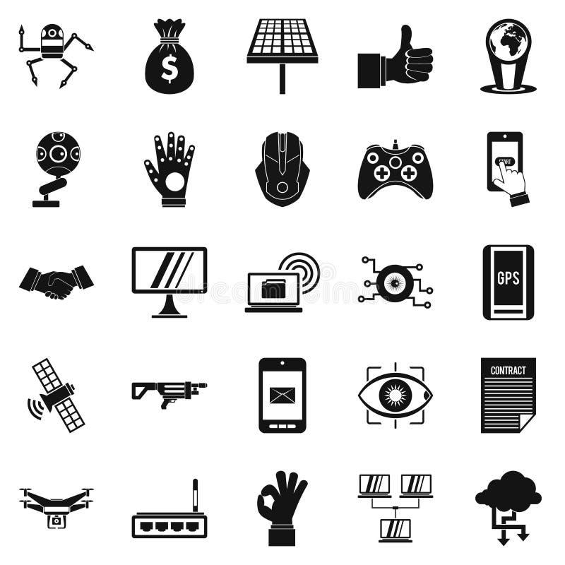 Amanhã ícones ajustados, estilo simples ilustração stock