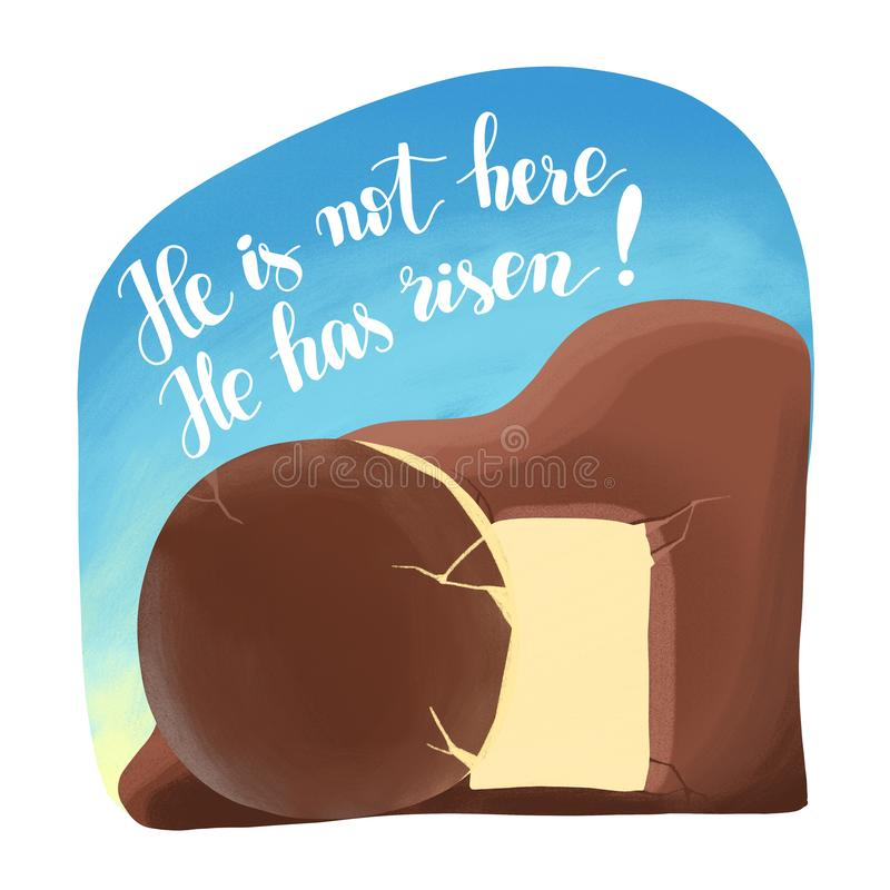 Amanhecer da ressurreição de Cristo, o túmulo vazio aberto O texto que não está aqui, ele aumentou ilustração royalty free