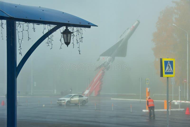 Amanhecer no aeroporto nomeado após Leonov fotografia de stock
