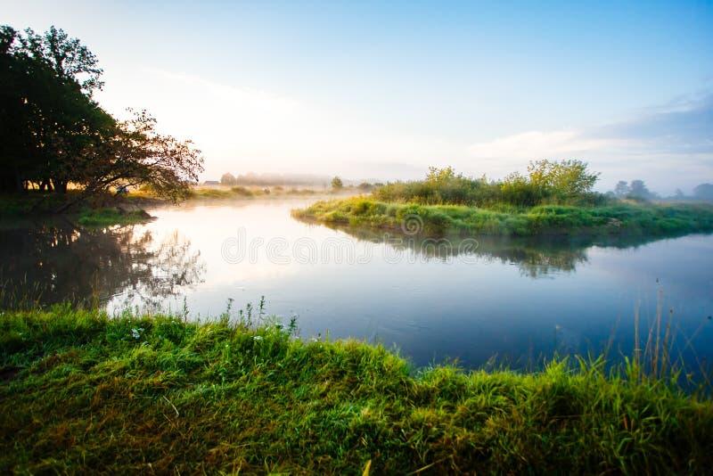 Amanhecer perto da curva do rio paisagem nevoenta imagem de stock royalty free