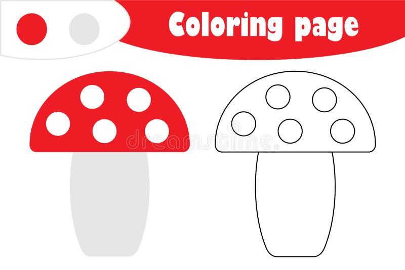 Amanita στο ύφος κινούμενων σχεδίων, χρωματίζοντας σελίδα φθινοπώρου, παιχνίδι εγγράφου εκπαίδευσης για την ανάπτυξη των παιδιών, ελεύθερη απεικόνιση δικαιώματος