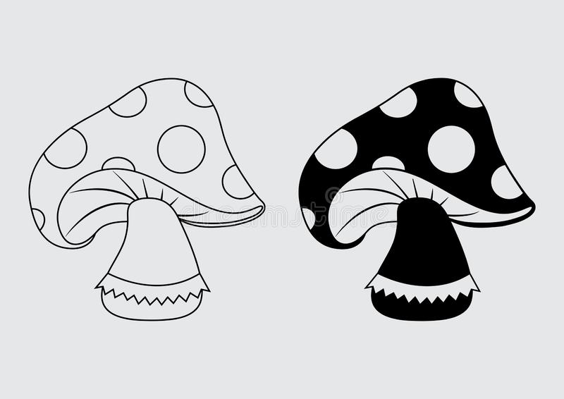 Amanita muscaria icon, black outline and flat design. Vector. Illustration vector illustration