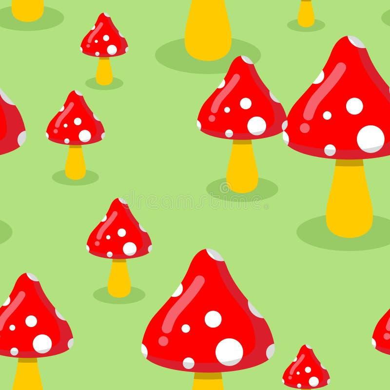 Amanita no prado no teste padrão sem emenda da floresta Textu vermelho do cogumelo ilustração stock