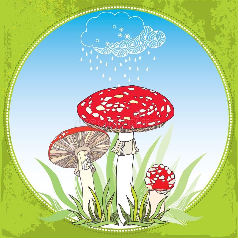Amanita och regnigt moln Giftig röd-kopp champinjon i den runda ramen stock illustrationer