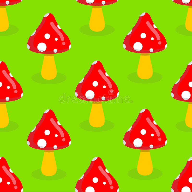 Amanita seamless pattern. Red mushroom with white spots. Toxic p. Oisonous mushroom ornament stock illustration