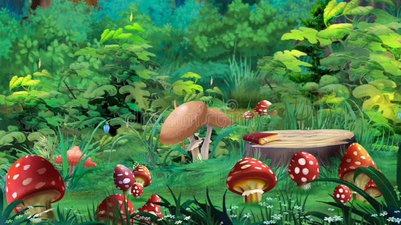 Amanitaen plocka svamp i en Forest Glade royaltyfri illustrationer