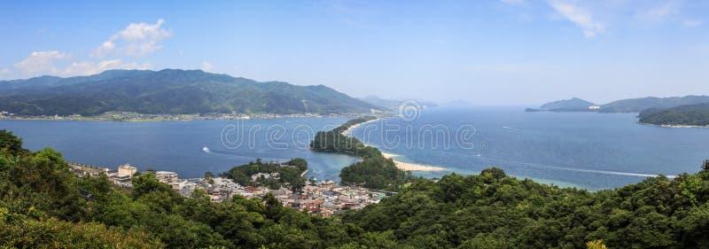 Amanohashidatepanorama van MT Moju, de Prefectuur van Kyoto, Japan royalty-vrije stock fotografie