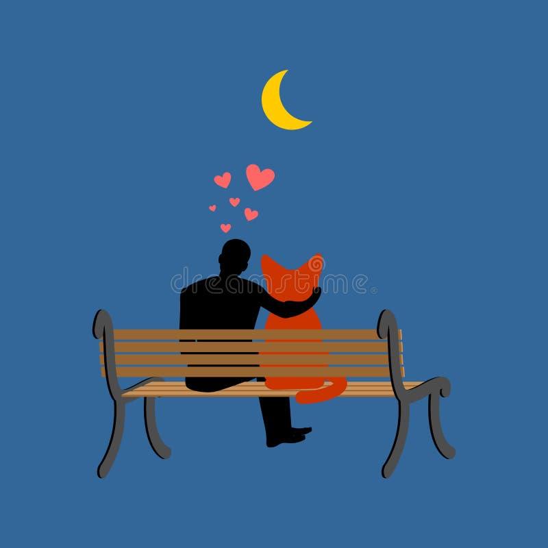 Amant de chat s'asseyant sur le banc Mon Kitty Animal familier et type Datte romantique illustration libre de droits