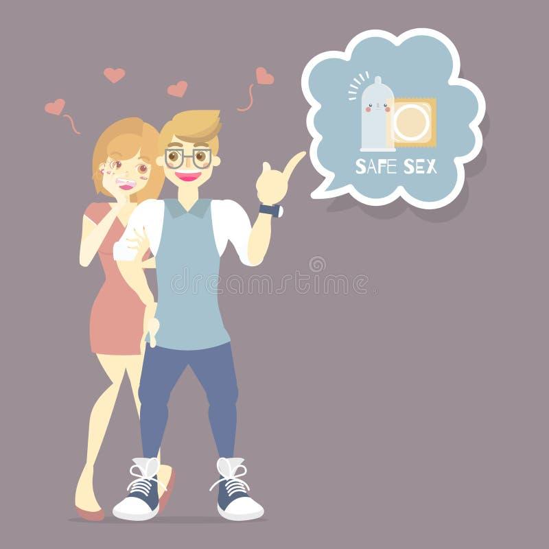 amant, homme et femme de couples avec le pr?servatif, pr?vention d'HIV, aides, maladies sexuellement transmissibles, concept de s illustration stock