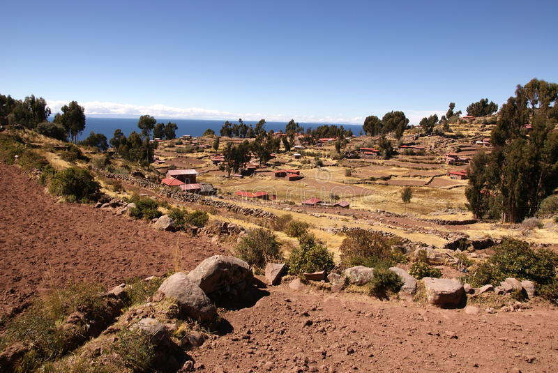 Amantani, Titcaca湖,秘鲁 图库摄影