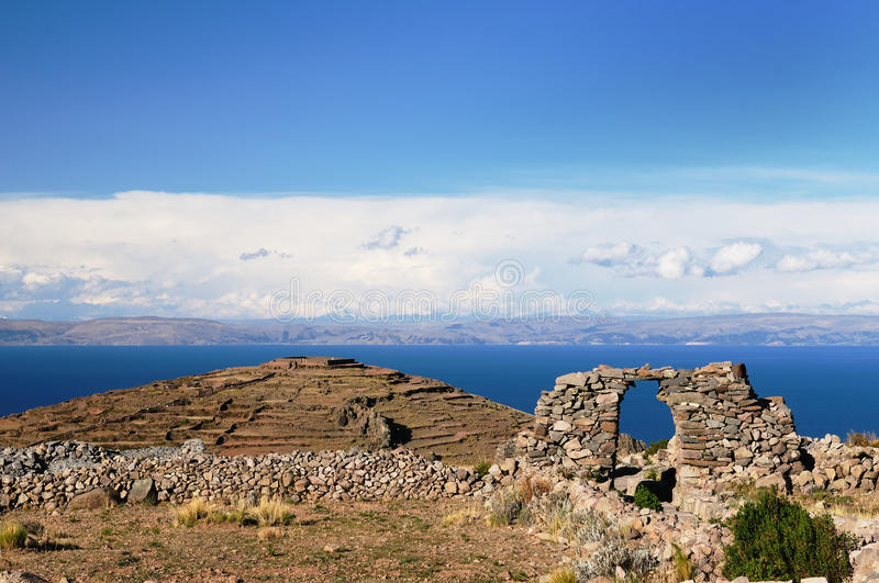 Amantani island, Titicaca lake, Peru royalty free stock photos