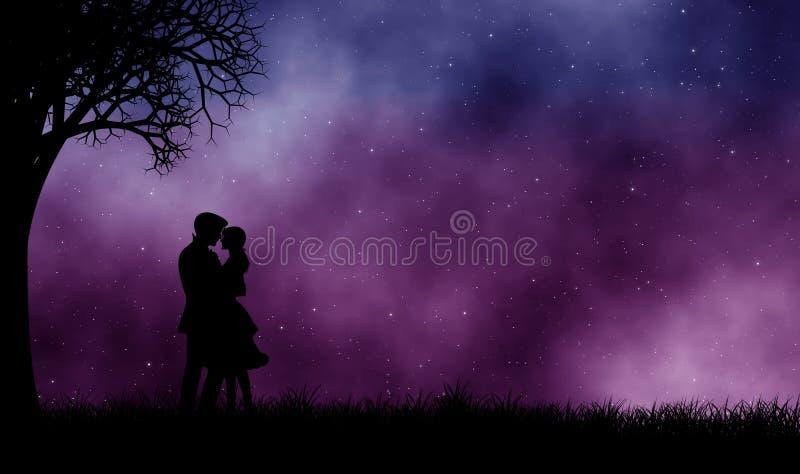 Amante abrazarse en sus brazos debajo del cielo hermoso ilustración del vector