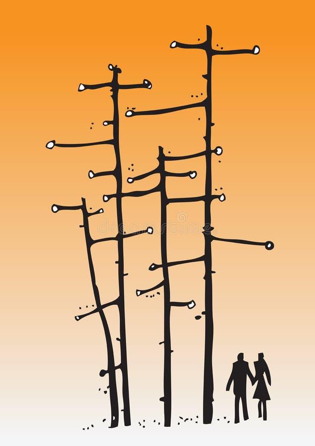 Amante abstrato da silhueta em uma floresta ilustração royalty free
