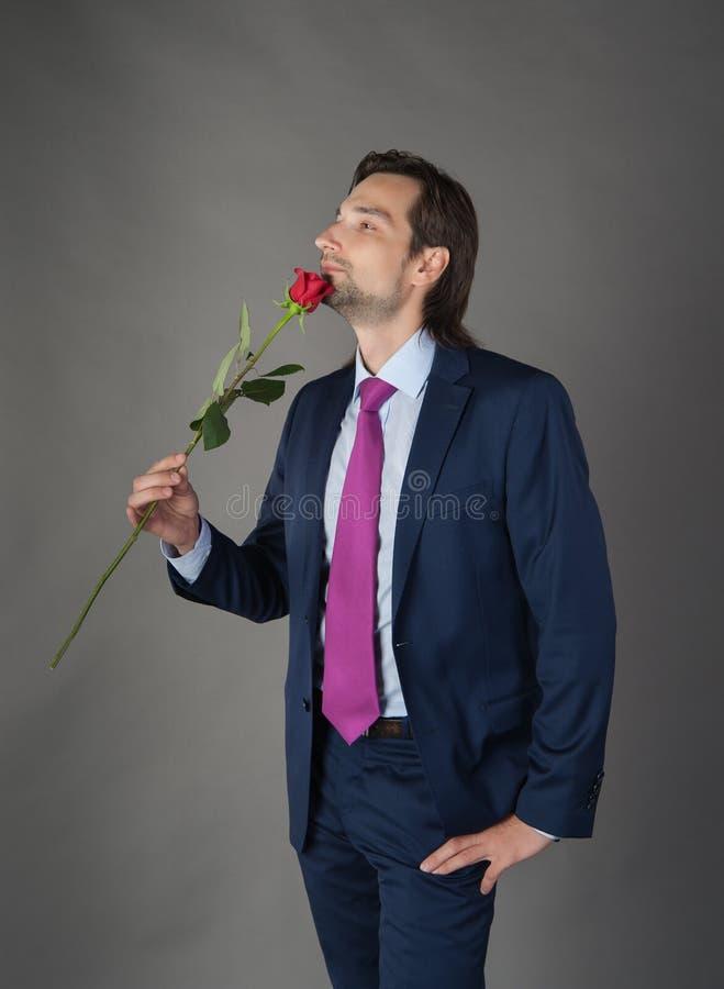 Amante con il fiore immagini stock