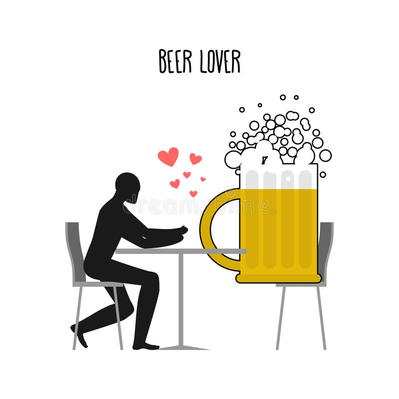 Amante de la cerveza Amantes en café Granos del hombre y de café que se sientan en el tabl stock de ilustración