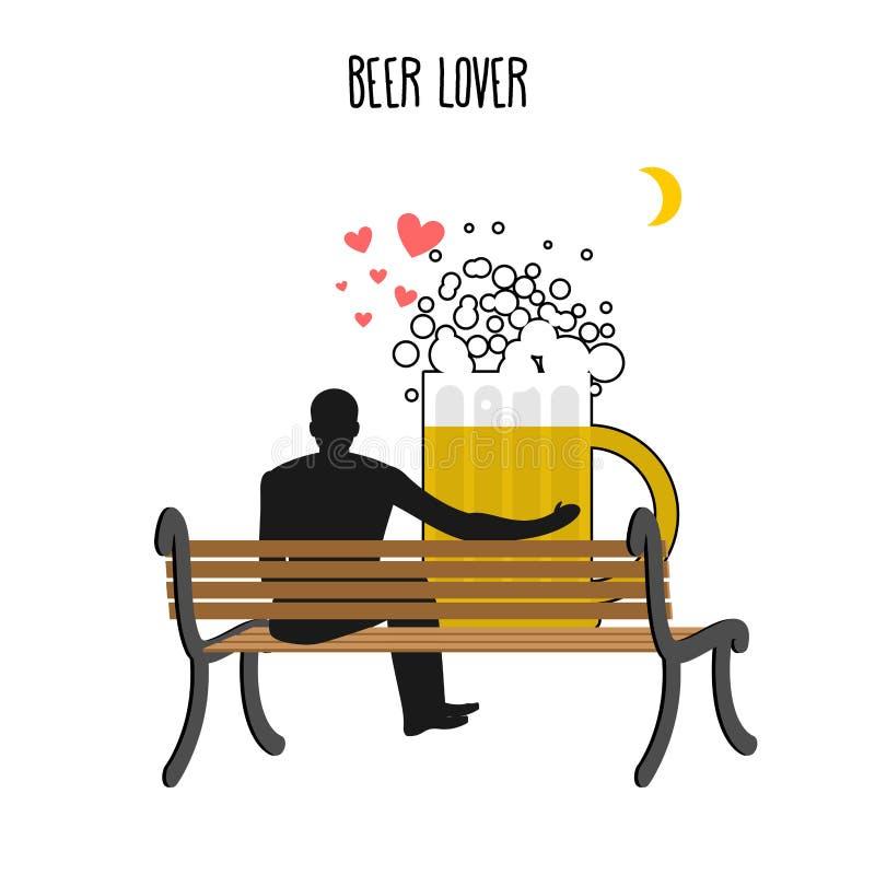 Amante de la cerveza Taza de cerveza y gente del reloj en la luna Noche de la fecha amante ilustración del vector