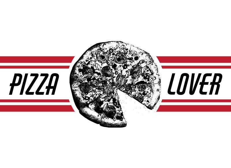 Amante de la pizza Vector el ejemplo dibujado mano de la pizza con la inscripción y las rayas ilustración del vector
