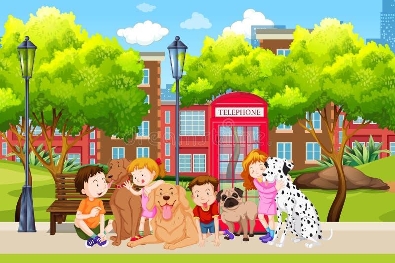 Amante dei cani nel parco royalty illustrazione gratis