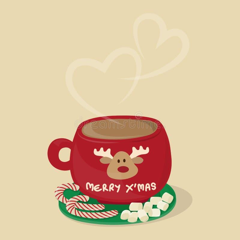 Amante del chocolate caliente de la Navidad ilustración del vector