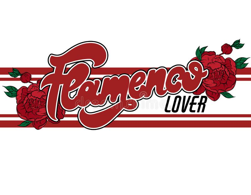 Amante del flamenco Vector las letras manuscritas con el ejemplo dibujado mano de las flores aisladas libre illustration