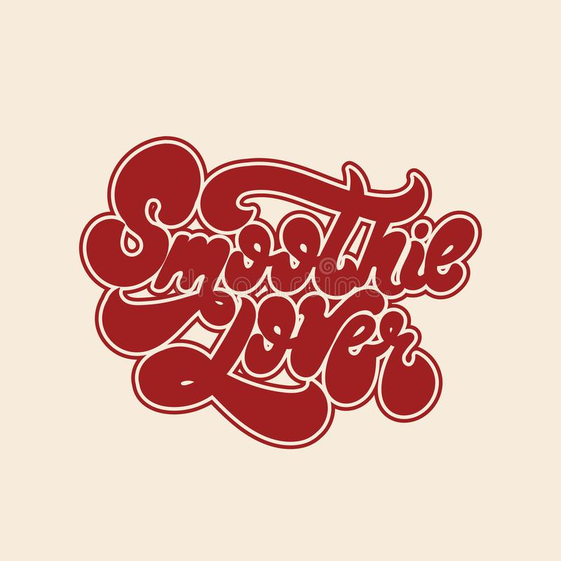 Amante del Smoothie Vector las letras manuscritas aisladas hechas en estilo de 90 ` s ilustración del vector