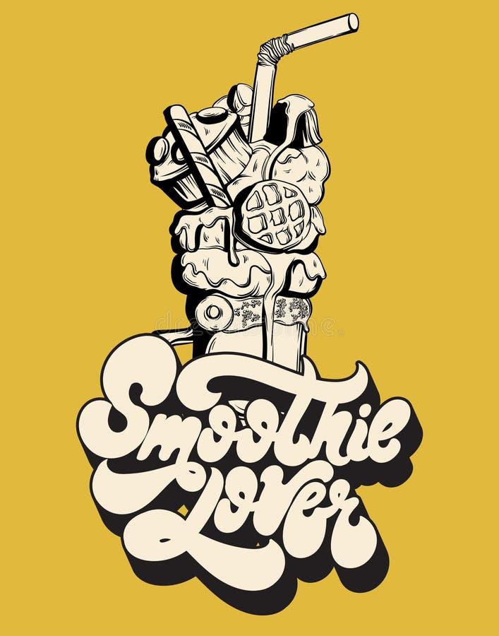 Amante del Smoothie Vector las letras manuscritas aisladas hechas en estilo de 90 ` s stock de ilustración