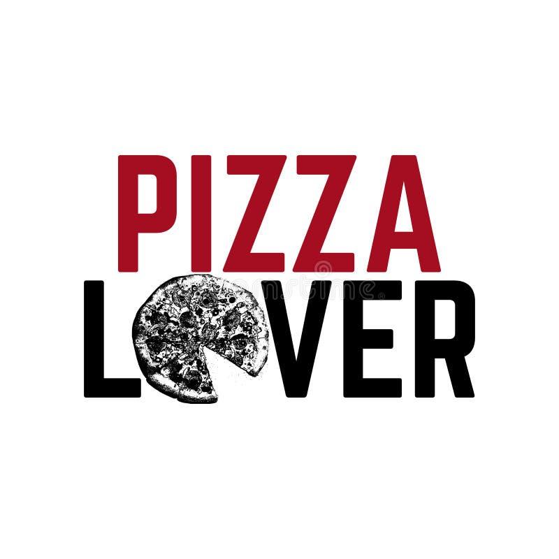 Amante della pizza Illustrazione disegnata a mano di vettore di pizza con l'iscrizione royalty illustrazione gratis