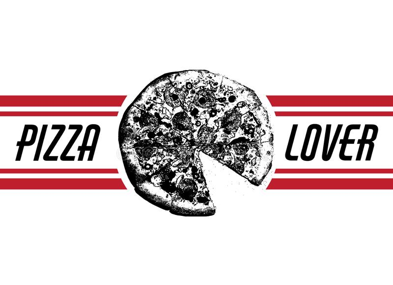 Amante della pizza Vector l'illustrazione disegnata a mano di pizza con l'iscrizione e le bande illustrazione vettoriale