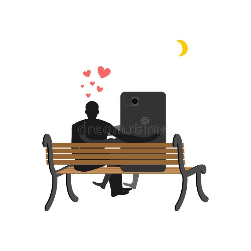 Amante dos dispositivos Homem e smartphone que sentam-se no banco Sempre a ilustração stock
