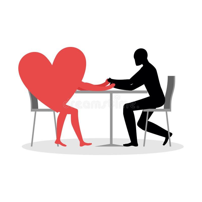 Amante en café El hombre y el corazón se sienta en la tabla Amor en restaurante stock de ilustración