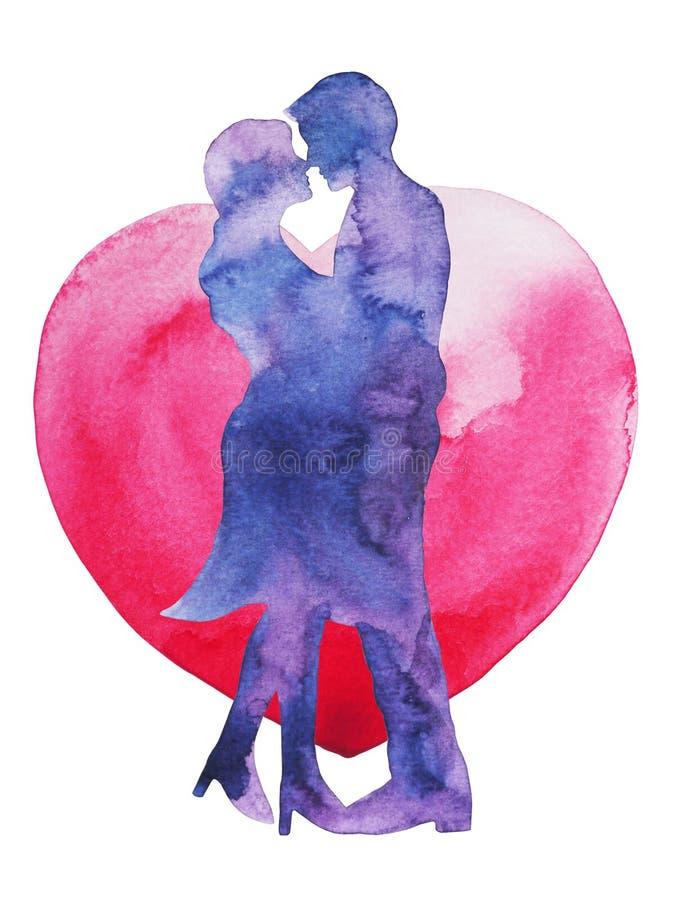 Amante feliz dos pares que beija com fundo do coração, cartão de casamento o ilustração do vetor