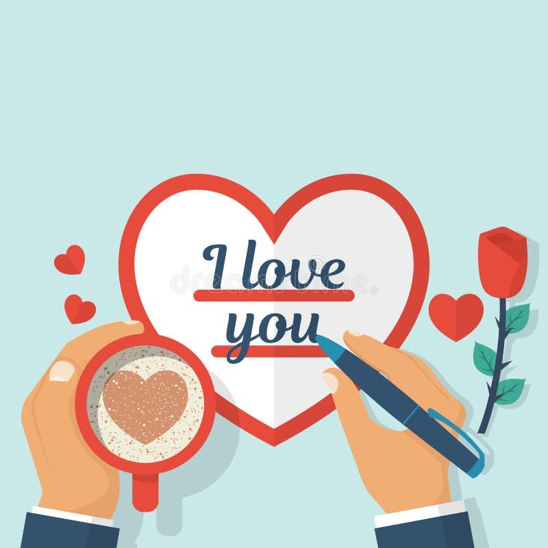 Amante que escribe a una tarjeta del día de San Valentín te amo ilustración del vector