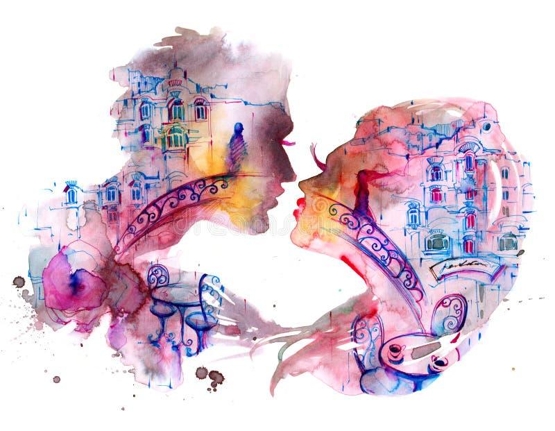 amantes ilustração royalty free