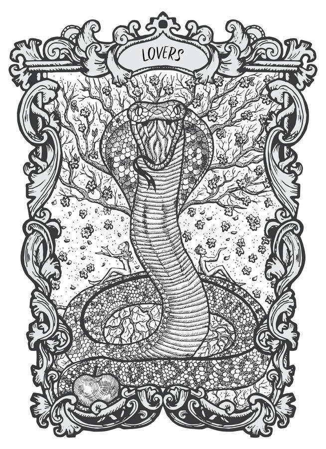 amantes Cartão de tarô menor dos Arcana ilustração do vetor