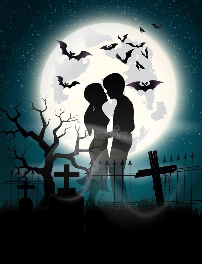 Amantes del alma en el claro de luna stock de ilustración