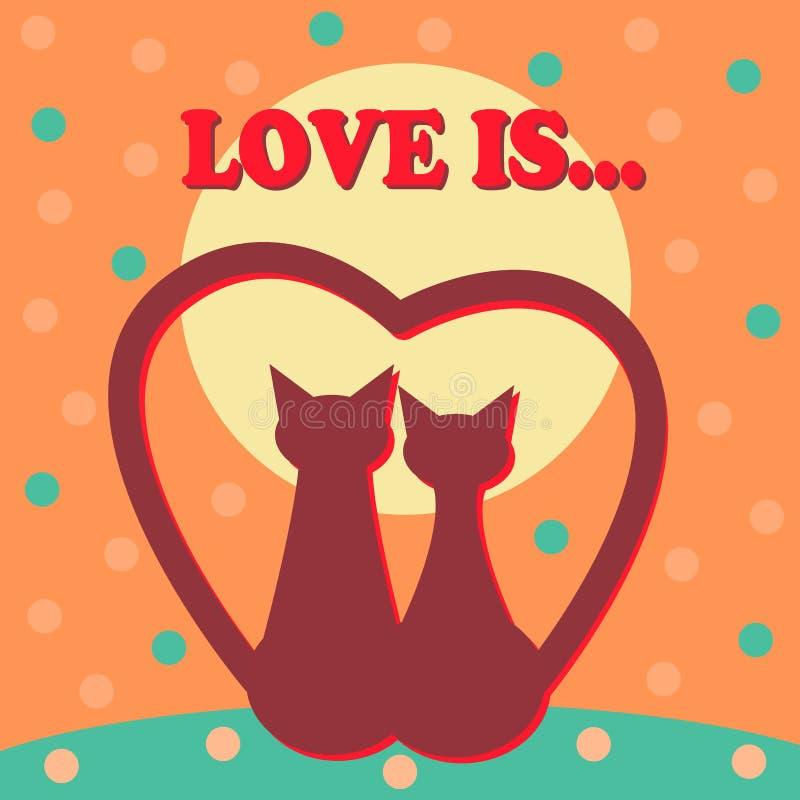 Amantes del vintage de la plantilla del diseño de tarjetas del vector del día de San Valentín que ponen letras a la disposición b ilustración del vector