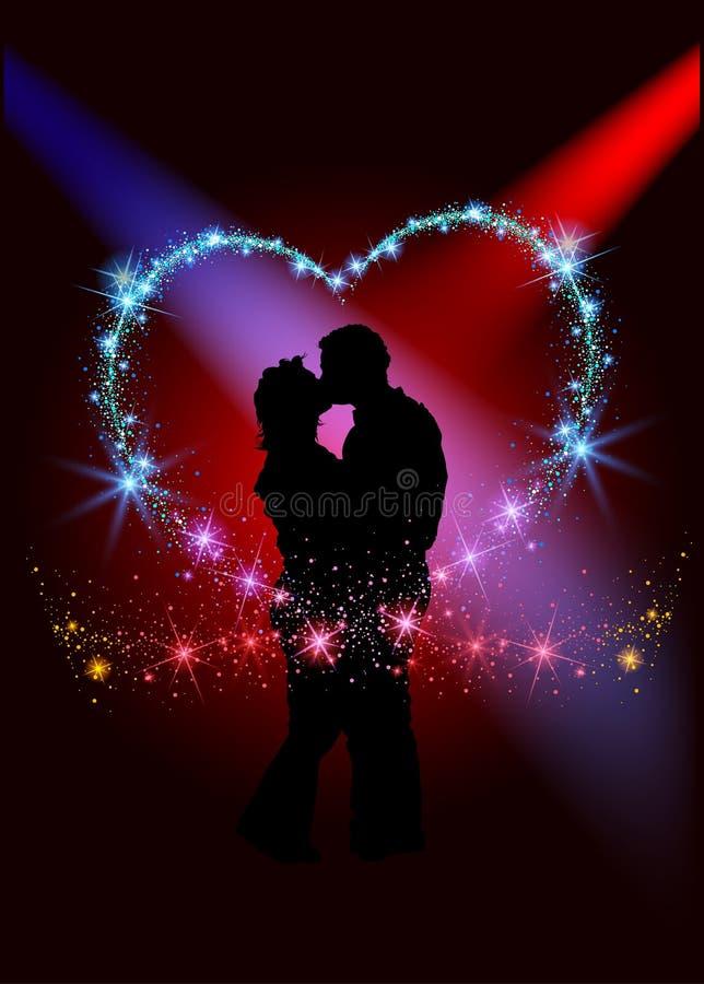 Amantes dentro del corazón chispeante ilustración del vector