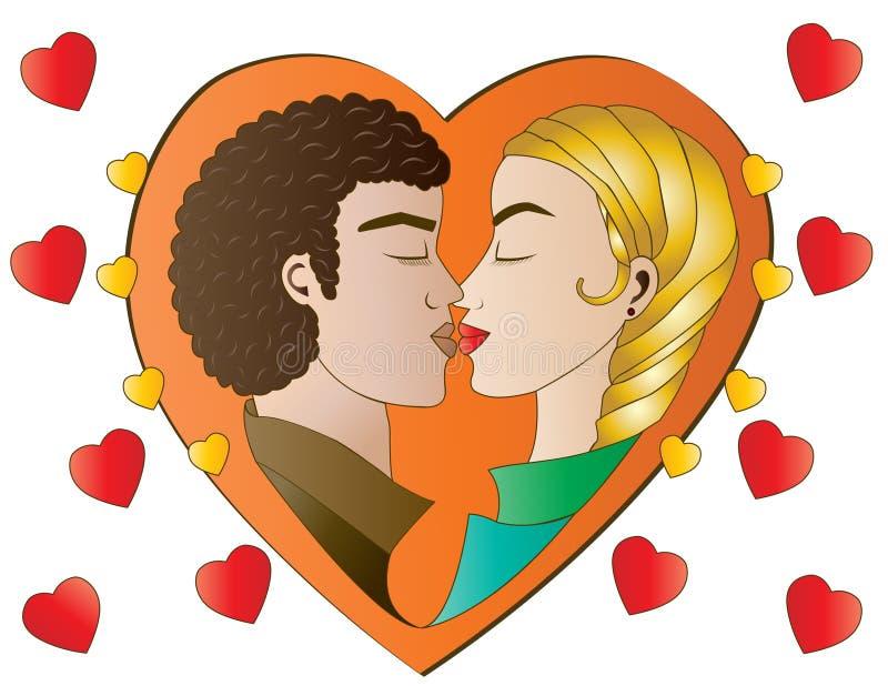 Amantes do coração na laranja ilustração stock
