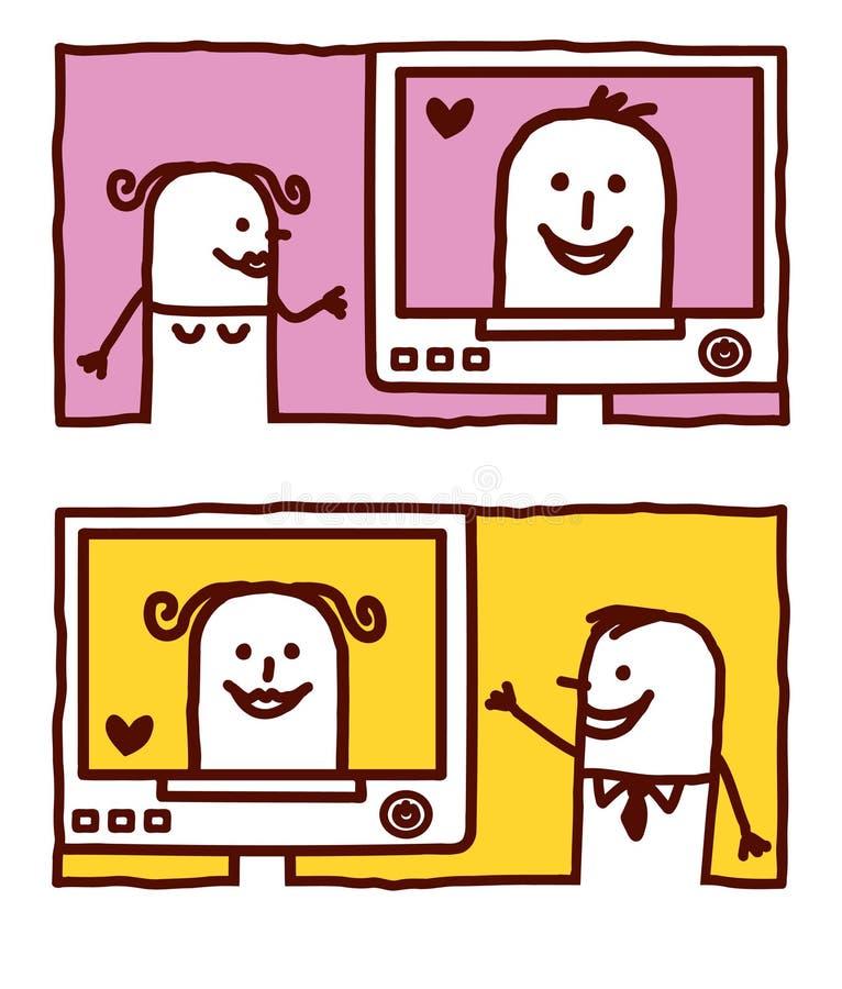 Amantes do Internet ilustração do vetor