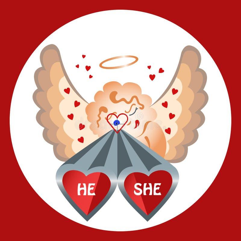 Amantes do tiro do Valentim lisos ilustração stock