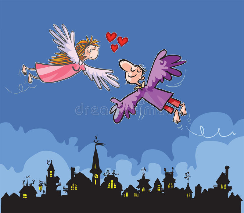 Amantes do voo sobre a cidade ilustração do vetor